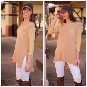Mixed knit High low tunic Taupe/Mustard